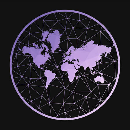 The World icon. Vector polygonal map of the world. The World icon in geometric style. The world map with purple low poly gradient on dark background.