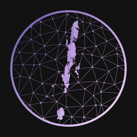 Andaman Islands icon. Vector polygonal map of the island. Andaman Islands icon in geometric style. The island map with purple low poly gradient on dark background. Иллюстрация