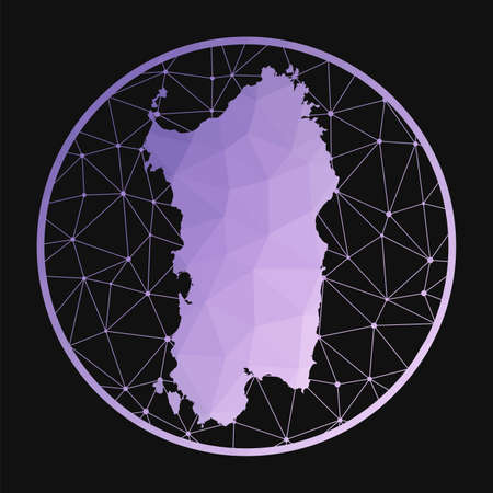 Sardinia icon. Vector polygonal map of the island. Sardinia icon in geometric style. The island map with purple low poly gradient on dark background.
