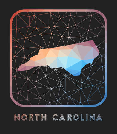 North Carolina map design. Vector low poly map of the us state. North Carolina icon in geometric style. The us state shape with polygnal gradient and mesh on dark background.