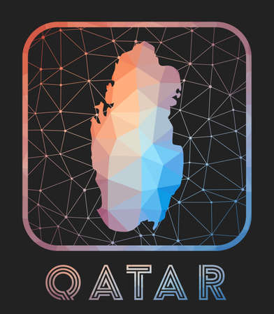 Qatar map design. Vector low poly map of the country. Qatar icon in geometric style. The country shape with polygnal gradient and mesh on dark background.