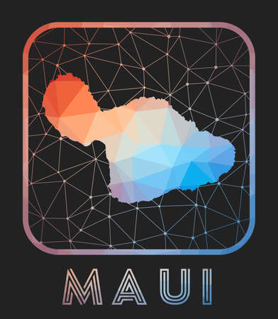 Maui map design. Vector low poly map of the island. Maui icon in geometric style. The island shape with polygnal gradient and mesh on dark background.