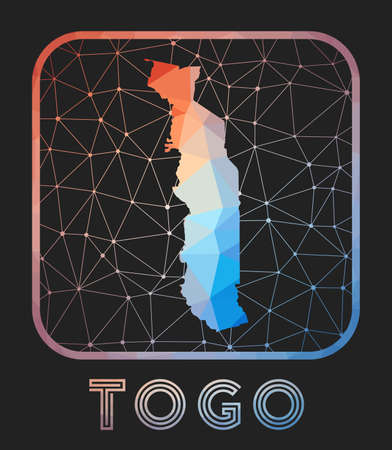 Togo map design. Vector low poly map of the country. Togo icon in geometric style. The country shape with polygnal gradient and mesh on dark background.