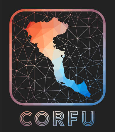 Corfu map design. Vector low poly map of the island. Corfu icon in geometric style. The island shape with polygnal gradient and mesh on dark background. Иллюстрация