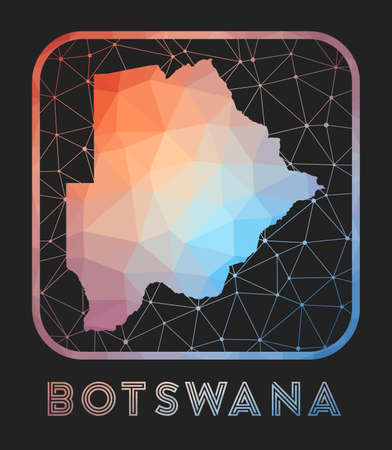 Botswana map design. Vector low poly map of the country. Botswana icon in geometric style. The country shape with polygnal gradient and mesh on dark background. Иллюстрация