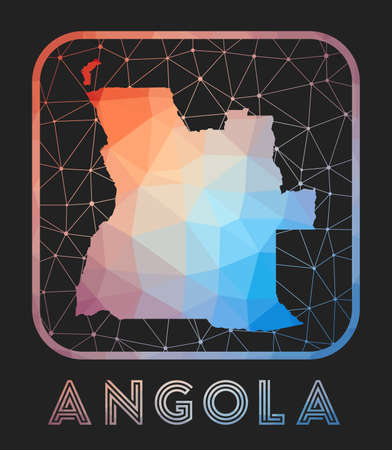 Angola map design. Vector low poly map of the country. Angola icon in geometric style. The country shape with polygnal gradient and mesh on dark background.