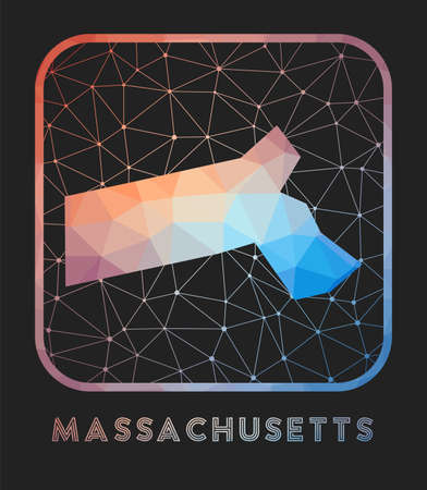 Massachusetts map design. Vector low poly map of the us state. Massachusetts icon in geometric style. The us state shape with polygnal gradient and mesh on dark background. Иллюстрация