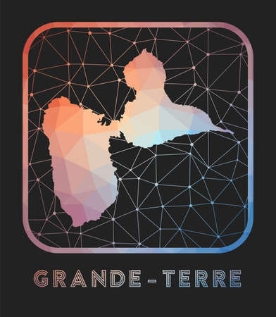 Grande-Terre map design. Vector low poly map of the island. Grande-Terre icon in geometric style. The island shape with polygnal gradient and mesh on dark background.