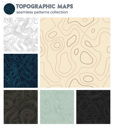 Topographic maps. Appealing isoline patterns, seamless design. Vibrant tileable background. Vector illustration.