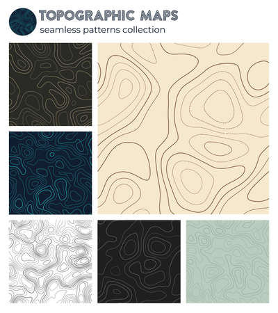 Topographic maps. Appealing isoline patterns, seamless design. Elegant tileable background. Vector illustration. Иллюстрация