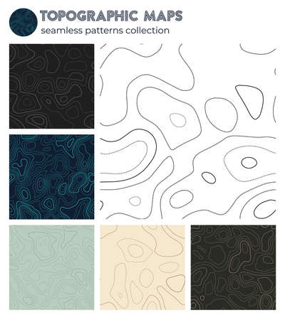 Topographic maps. Authentic isoline patterns, seamless design. Neat tileable background. Vector illustration.