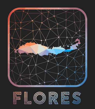 Flores map design. Vector low poly map of the island. Flores icon in geometric style. The island shape with polygnal gradient and mesh on dark background. Иллюстрация