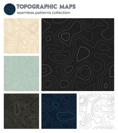 Topographic maps. Awesome isoline patterns, seamless design. Beautiful tileable background. Vector illustration.