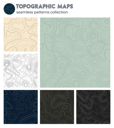 Topographic maps. Artistic isoline patterns, seamless design. Vibrant tileable background. Vector illustration.