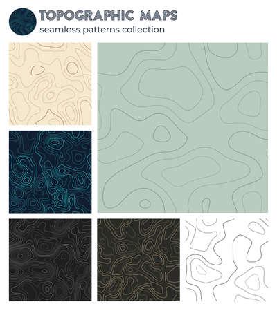 Topographic maps. Astonishing isoline patterns, seamless design. Creative tileable background. Vector illustration.