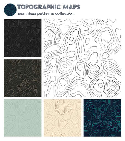 Topographic maps. Attractive isoline patterns, seamless design. Superb tileable background. Vector illustration.