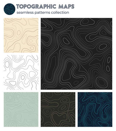 Topographic maps. Appealing isoline patterns, seamless design. Creative tileable background. Vector illustration. Ilustracja