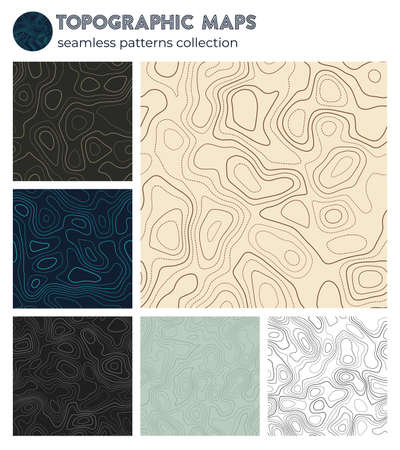 Topographic maps. Beautiful isoline patterns, seamless design. Classy tileable background. Vector illustration. 向量圖像