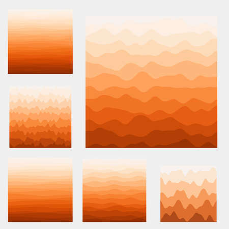 Abstract waves background collection. Curves in orange colors. Vibrant vector illustration.