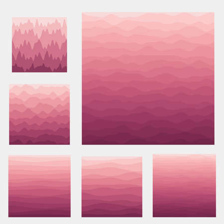 Abstract waves background collection. Curves in dark pink colors. Captivating vector illustration. 向量圖像
