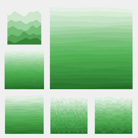 Abstract waves background collection. Curves in green colors. Classy vector illustration.