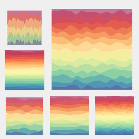 Abstract waves background collection. Curves in spectral colors. Trendy vector illustration.
