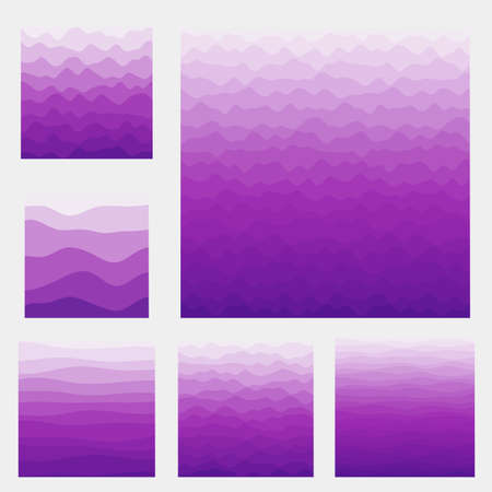 Abstract waves background collection. Curves in purple colors. Stylish vector illustration. 向量圖像