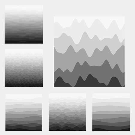 Abstract waves background collection. Curves in grey colors. Trendy vector illustration. 向量圖像
