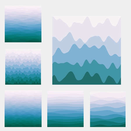 Abstract waves background collection. Curves in purple blue green colors. Beautiful vector illustration.