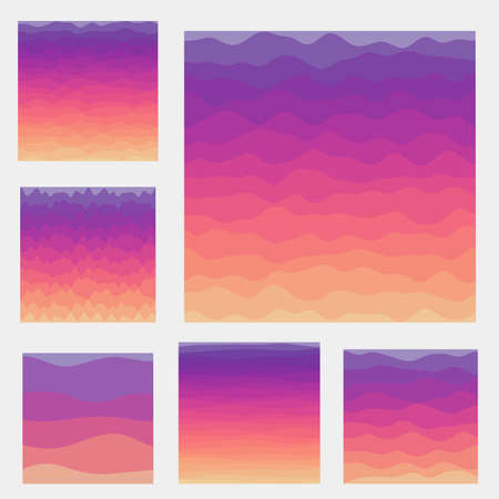 Abstract waves background collection. Curves in sunset colors. Appealing vector illustration.