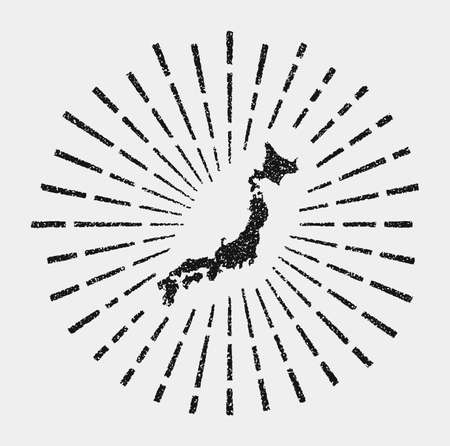 Vintage map of Japan. Grunge sunburst around the country. Black Japan shape with sun rays on white background. Vector illustration.