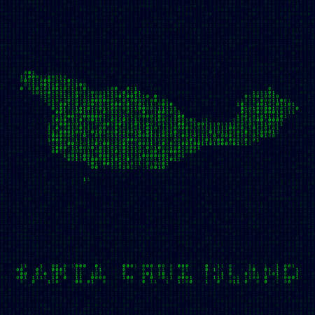 Island symbol in hacker style. Binary code map of Santa Cruz Island with island name. Neat vector illustration.