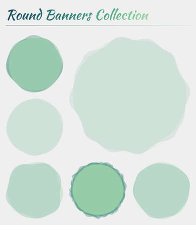 Colorful round banner. Circular backgrounds in blue green colors. Attractive vector illustration. 일러스트