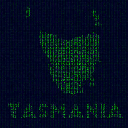 Island symbol in hacker style. Binary code map of Tasmania with island name. Classy vector illustration. 일러스트