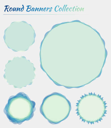 Round banners set. Circular backgrounds in green blue colors. Stylish vector illustration.