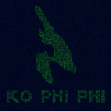 Island symbol in hacker style. Binary code map of Ko Phi Phi with island name. Cool vector illustration.