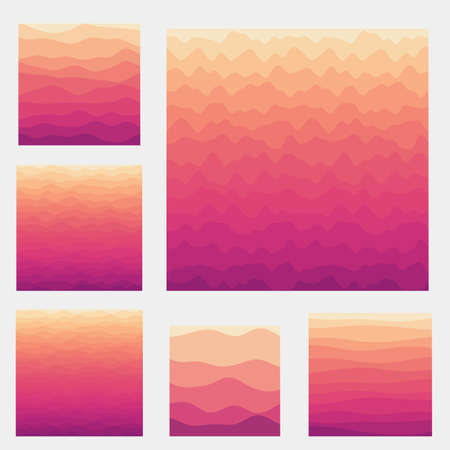 Abstract waves background collection. Curves in sunset dark colors. Authentic vector illustration.