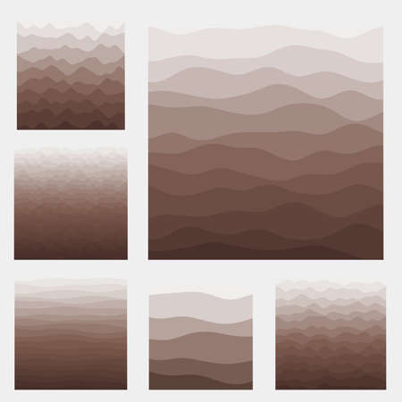 Abstract waves background collection. Curves in brown colors. Awesome vector illustration.
