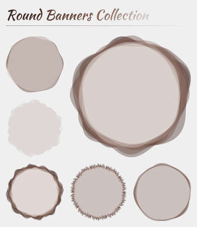 Round banners set. Circular backgrounds in brown colors. Awesome vector illustration.