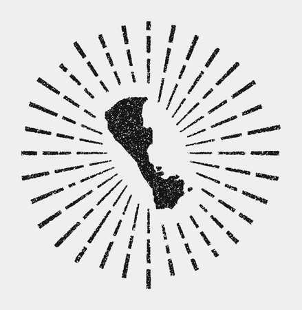 Vintage map of Boracay. Grunge sunburst around the island. Black Boracay shape with sun rays on white background. Vector illustration.