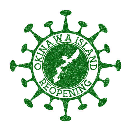 Okinawa Island Reopening Stamp. Green round badge of island with map of Okinawa Island. Island opening after lockdown. Vector illustration.