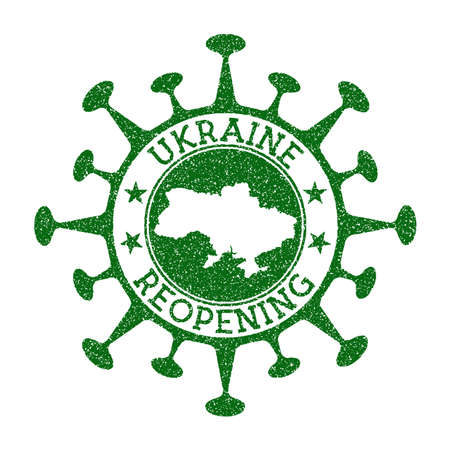 Ukraine Reopening Stamp. Green round badge of country with map of Ukraine. Country opening after lockdown. Vector illustration. Archivio Fotografico - 150961329
