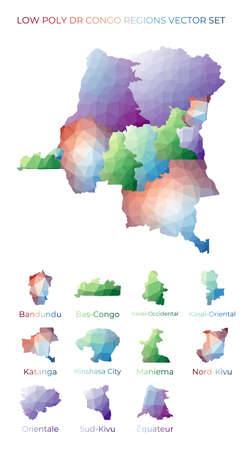 Congolese low poly regions. Polygonal map of DR Congo with regions. Geometric maps for your design. Powerful vector illustration.