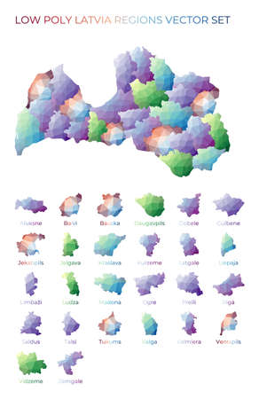 Latvian low poly regions. Polygonal map of Latvia with regions. Geometric maps for your design. Neat vector illustration.