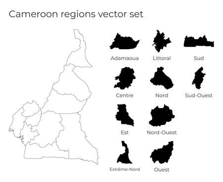 Cameroon map with shapes of regions. Blank vector map of the Country with regions. Borders of the country for your infographic. Vector illustration.