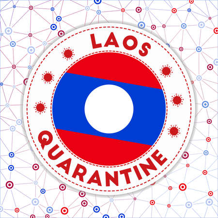 Quarantine in Laos sign. Round badge with flag of Laos. Country lockdown emblem with title and virus signs. Vector illustration. Ilustração