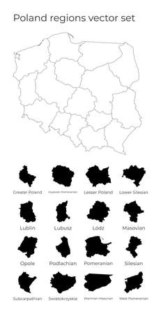 Poland map with shapes of regions. Blank vector map of the Country with regions. Borders of the country for your infographic. Vector illustration.