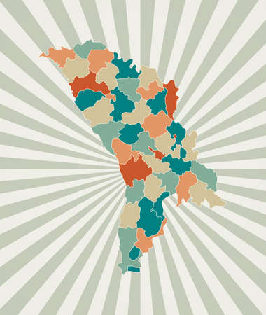 Moldova map. Poster with map of the country in retro color palette. Shape of Moldova with sunburst rays background. Vector illustration.