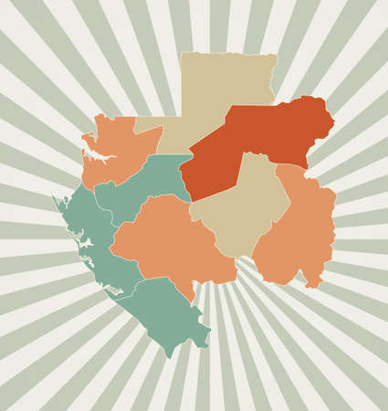 Gabon map. Poster with map of the country in retro color palette. Shape of Gabon with sunburst rays background. Vector illustration.