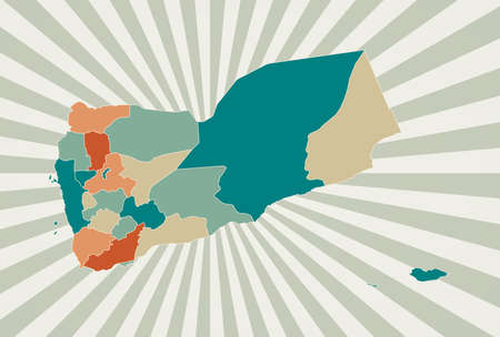Yemen map. Poster with map of the country in retro color palette. Shape of Yemen with sunburst rays background. Vector illustration. 向量圖像